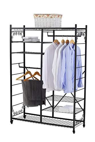 NEUN WELTEN XXL Kleiderständer einstellbar mit 4 Ablagen Kleiderstangen Schwerlast mit Rollen - Garderobenständer mit verstellbaren Regalen aus Metall  (Doppelstangen)