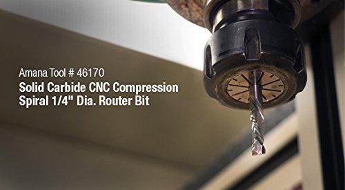 "Amana Tool - 46170 CNC Solid Carbide Compression Spiral 1/4 Dia x 7/8 x 1/4"" Shank"