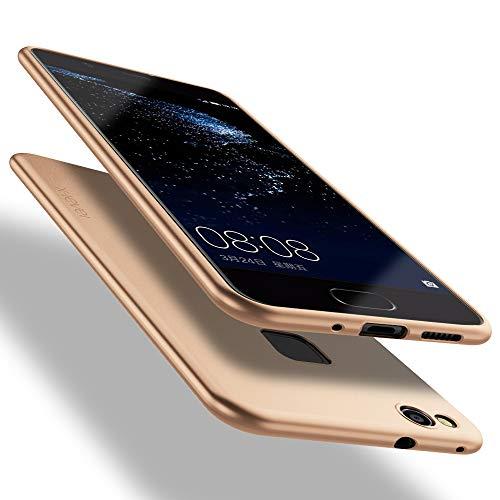 X-level Huawei P10 Lite Hülle, [Guadian Serie] Soft Flex Silikon Premium TPU Echtes Telefongefühl Handyhülle Schutzhülle für Huawei P10 Lite Case Cover [Gold]