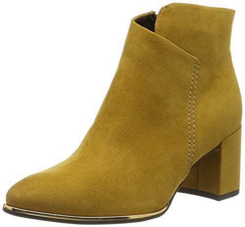 Botines amarillos para mujer de tacón ancho