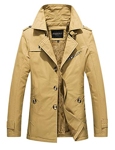 D.B.M Men's Winter Plus Velvet Mid-Length Slim with Epaulettes Trench Coat (X-Large, Dark-Khaki)