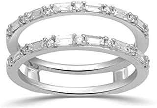 Jewelili 14K White Gold Baguette and Round Diamond Bridal Insert Ring,1/2cttw. Size 7