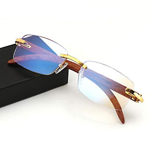 Eyetary Handgemachte Holz Tempel Rahmenlos Multifokale Progressive Lesebrille Blaulichtfilter für Männer Frauen Business Rechteckige Designer Brillen Frame mit Sehstärke,Gold,+2.00