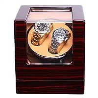 自動ダブルウォッチワインダー、低ノイズと木製の手作り、磁化防止、2つの時計収納ディスプレイボックス(色:F)