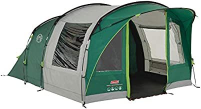 Coleman Rocky Mountain 5 Plus Family Tent, 5 Man Tent, Blocks up to 99 Percent of Daylight, 2 Bedroom Family Tent, 100 Percent Waterproof Camping Tent for 5 Person, Also Ideal to Camp in The Garden