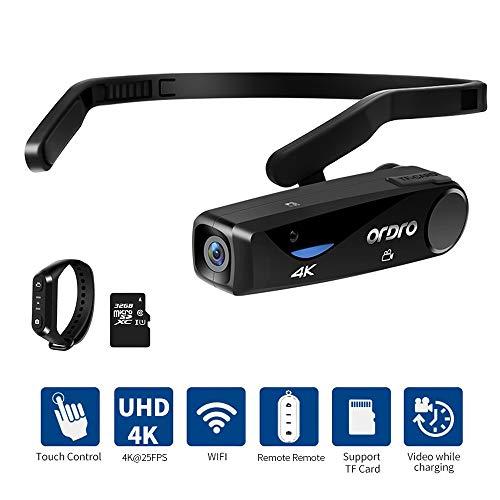 Videoregistratore ORDRO EP6 4K Mini Videocamera Testa Indossabile Videocamera FPV Videocamera Full HD 1080P 60FPS Videoregistratore con WiFi e Telecomando (con Scheda Micro SD da 32 GB)