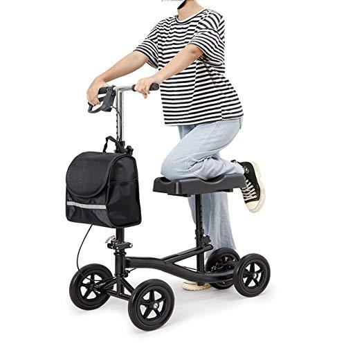 PINGJIA Rodillera Plegable para Andador con Capacidad De Peso, Almohadilla De Asiento Ortopédica para Movilidad De Adultos Y Ancianos, Andador Orientable para La Rodilla con Cesta Extraíble