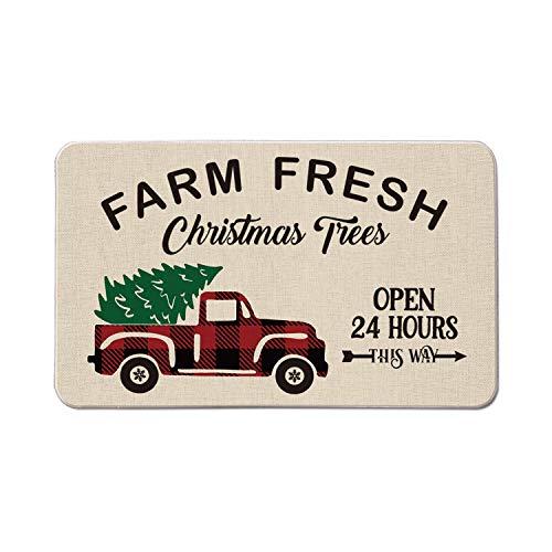 AVOIN Farm Fresh Christmas Tree Truck Pickup Decorative Doormat, 17 x 29 Inch Winter Holiday Non-Skid Low-Profile Floor Mat Switch Mat Indoor Outdoor Home Garden
