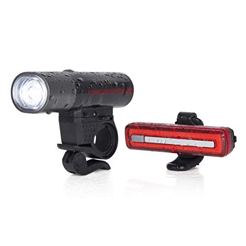 Cycleafer® Bike Light + Free USB Rechargeable TAILLIGHT, 3 Year Warranty, Headlight, Road Bike Lights, Premium Quality Bicycle Light, LED Rear Bike Light l Module aubX l UK Company