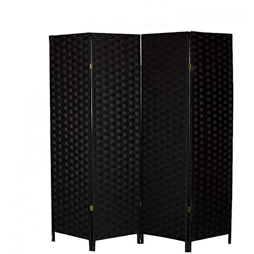 Hogar y Mas Biombo Separador de Ambientes Negro de Bambú Natural para Dormitorio/Salón 180x135 cm - 4 Paneles
