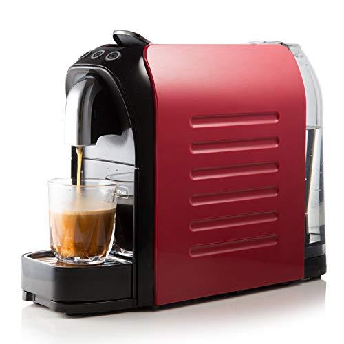White Tiger Nespresso - Cafetera de cápsulas (1140 W, 19 bares, ahorro de espacio), color rojo