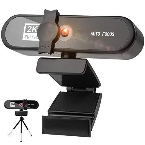 Aode Webcam 2K HD mit Mikrofon,Facecam Live-Streaming Webcams mit Abdeckung,Stativ,360° Drehbar,USB Kamera für PC,Mac,Videochat-Aufnahme,Konferenz,Webcam für Zoom,Skype,Teams,YouTube
