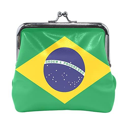Geldbörse für Frauen Brasilien Flagge Vektorformat Geldbörsenhalter mit Kussverschluss Brieftaschen für Frauen süß für Frauen Mädchen 4,5x4,1 Zoll