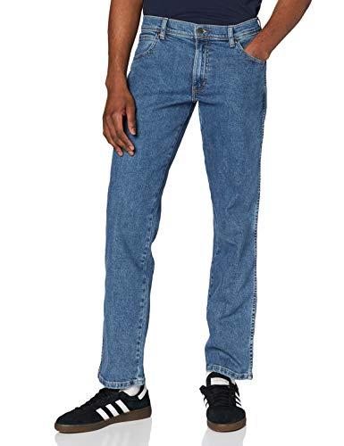 Wrangler Regular Fit Straight Leg Vaqueros, Azul (Stonewash), 34W / 34L para Hombre