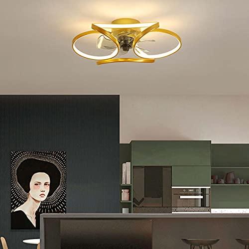 HYDL Ventiladores para el Techo con Lámpara, Moderna LED Ventilador De Techo, con Mando A Distancia Regulable Luz Ventilador Invisible, Velocidad del Viento Ajustable,Oro,52cm