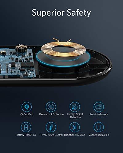 Anker Wireless Charger,PowerWave 10 Dual Pad, Qi-zertifiziertes Ladepad 7.5 für iPhone XS Max/XR/XS/X/8,10W für Galaxy S10/S10+/S9/S9+/S8/S8+,5W für alle Qi-fähigen Smartphones,Netzteil inklusive