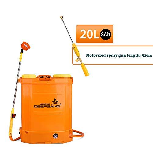 JTYDFG Mochila pulverizador, Pressure Sprayer Knapsack Eléctrica Bomba pulverizadora con Lanza Extensible Anti corrosión Mochila de pulverización Multiusos 18L/20L(Naranja)