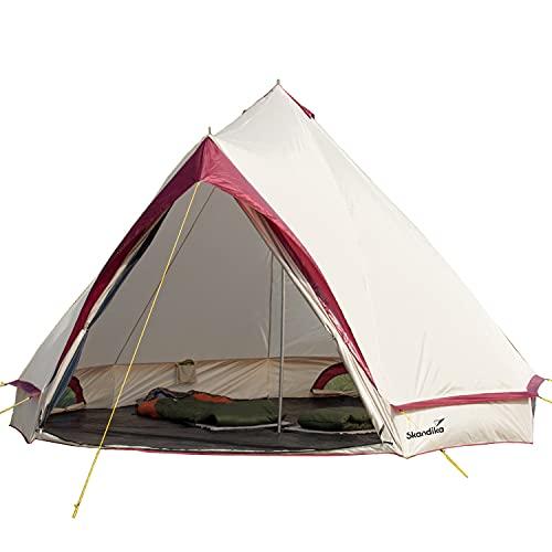 skandika Comanche Tipi Zelt Outdoor | Campingzelt für bis zu 8 Personen, eingenähter Zeltboden, Moskitonetz, 2,5 m Stehhöhe, Stahl-Gestänge | Indianerzelt, Partyzelt, Festivalzelt, Glamping