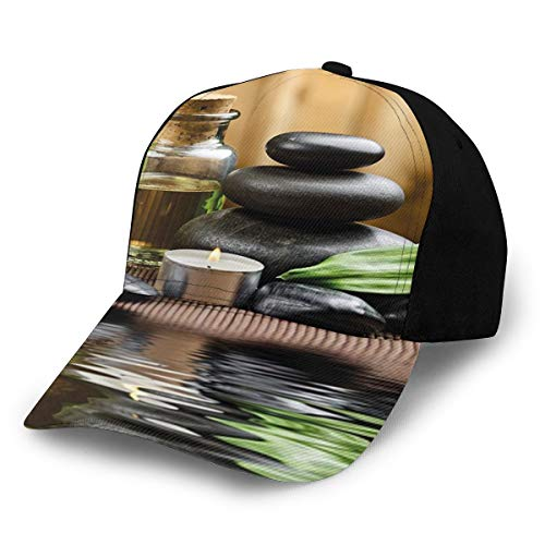 Fashion Spa Decor Asian Zen Massage Stone Triplets with Herbal Oil and Scent Candles ES Sand Brown Green Plain Adjustable Baseball Cap Unisex Hat Sun Cap