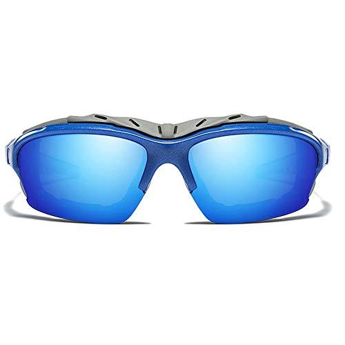 DKee Gafas de Sol Material De PC Anti-UV Antideslumbrante Polarizado for Montar En Exteriores UV400 Gafas De Sol De Color Azul/Rojo, Hombres Y Mujeres con Las Mismas Gafas De Sol (Color : Blue)