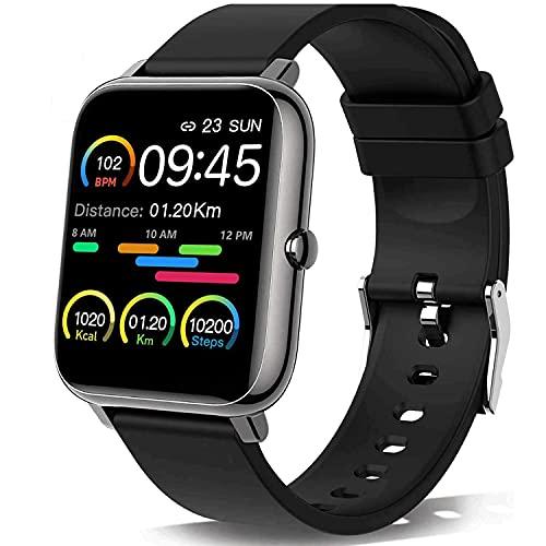 Smartwatch Orologio Fitness Tracker Uomo Donna, Bluetooth Smart Watch Cardiofrequenzimetro da Polso Schermo Colori Impermeabile IP68 Orologio Sportivo Calorie Activity Tracker per Android iOS (Nero)