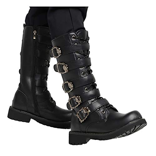 Knight Boots Herren High Tube Leder Martin Stiefel Herren Punk Rock Goth Schwarze Lederschnalle Motorradstiefel