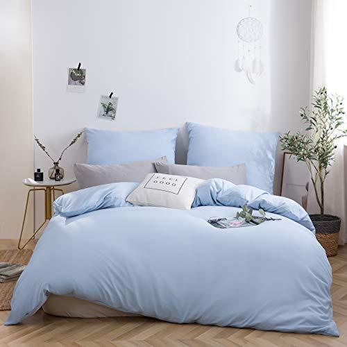 AYSW Bettwäsche gebürstet Microfaser 1 Bettbezug 135x200cm + 1 Kopfkissenbezug 80x80cm mit Reißverschluss Spa Blau