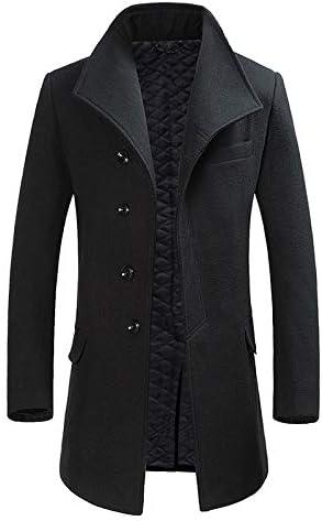 Nomber 4 Colors Woolen Coat Men's Long Thickened Style Woolen Coat Men Blend Hooded Pea Coats Outerwear Charming Wool
