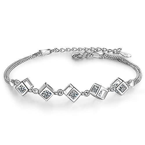 TTGE 925 Pulseras y brazaletes de Caja de Cubo de Plata esterlina Nueva Pulsera de Moda para Mujer joyería de Plata esterlina