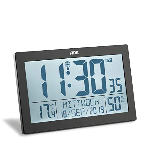ADE Funk-Uhr CK1927 Wand-Uhr, schmaler Rahmen, LCD-Display mit Beleuchtung, Tisch-Uhr, Thermometer/Hygrometer, schwarz
