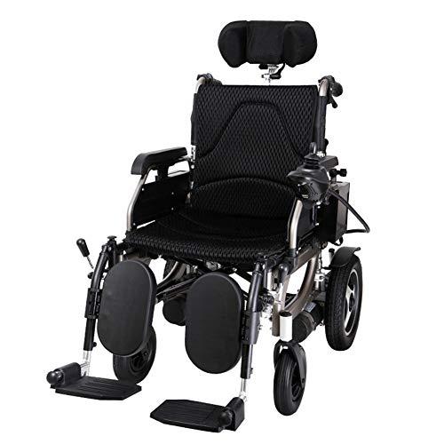 Faltbarer Leichter Elektrischer Rollstuhl mit Joystick Kopfstütze, nur 3kg mit Li-Ion Battery,120 kg Nutzlast,Gummihinterräder für ältere und behinderte Menschen,Black