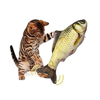 Chat Jouet Poisson, Jouet en Peluche Catnip, Jouet Poisson Electronique Simulation en Mouvement USB Rechargeable avec Cataire, Vibrant Dansant Bouge avec Catnip Jouets