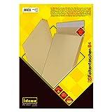 Idena 346096 - Faltentasche haftklebend ohne Fenster, DIN B4, 150 g/m², 4 cm Boden, 10 Stück, 250 x 353 x 40 mm, natron/braun