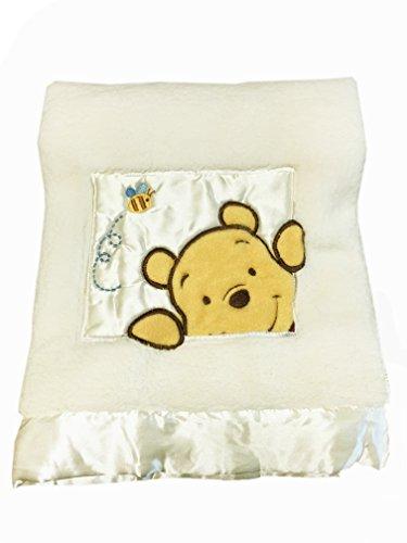 Danica Soft Coral Fleece Baby Blanket, Cute Animal Pattern, 40 X 30 Cozy, Comfortable & Warm (Ivory Winnie The Pooh B)