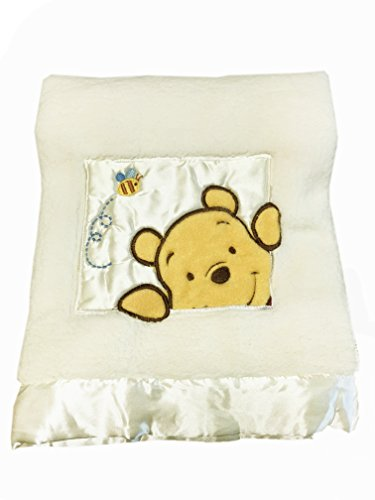 Danica Soft Coral Fleece Baby Blanket, Cute Animal Pattern, 40' X 30' Cozy, Comfortable & Warm (Ivory Winnie The Pooh B)