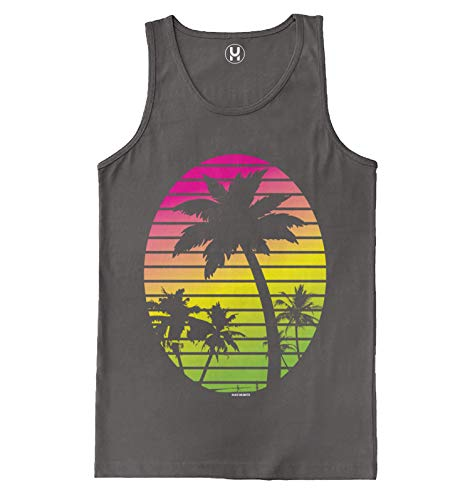 Haase Unlimited Palm Tree Scene - Vacation Tropical Men's Tank Top (Charcoal, X-Large)