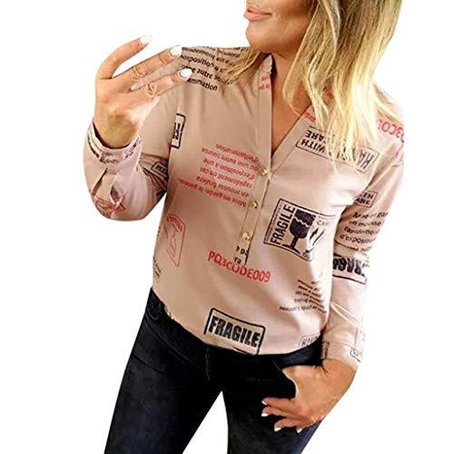 BOLAWOO Camicetta Camicia Autunno Cinque a Donna Stella Bottone Punte Mode di Marca Trapano Caldo Top Top Manica Lunga 3 4 Maniche O Collo Felpa Camicia Allentata Manica Lunga Camicia