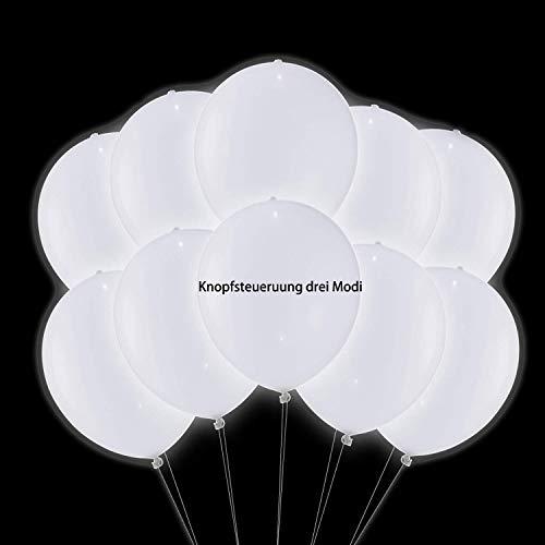 TECHSHARE LED Luftballons Weiß, Leuchtenden LED Weiß Ballons, LED Helium Balloon für Party,Valentinstag,Hochzeit,Geburtstag, 30 Stücke LED Luftballon mit Knopfsteuerung DREI Modi Neueste
