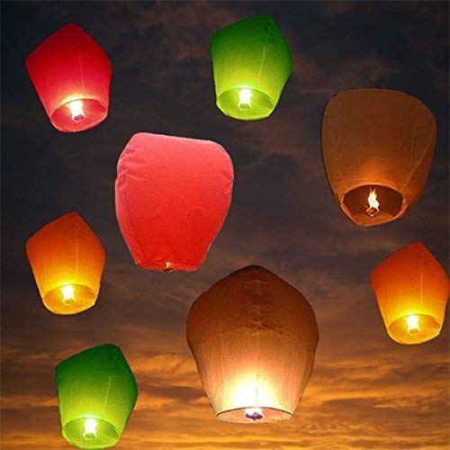 ACTIMOB AM-20 Make A Wish Hot Air Balloon Paper Sky Lantern (Mix Color, Pack of 10)
