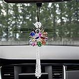 Colgante de bola de cristal de peonía para coche, decoración de seguridad de la suerte, adorno para colgar en el espejo retrovisor accesorios para auto interior de MirPendaye (color: colorido)