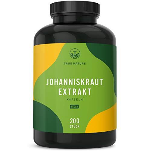 TRUE NATURE® Johanniskraut Kapseln Vegan - 200 Stück je 450mg (8:1 Extrakt) entspricht 3.600mg pro Kapsel - Hochdosiert mit 10.800mg - Echtes Hypericum, Laborgeprüft, Deutsche Produktion