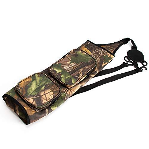 JEKOSEN Back Arrows Quiver Holder Shoulder Bag Hanged Target Shooting Quiver for Arrows with Front Pockets(Camouflage)