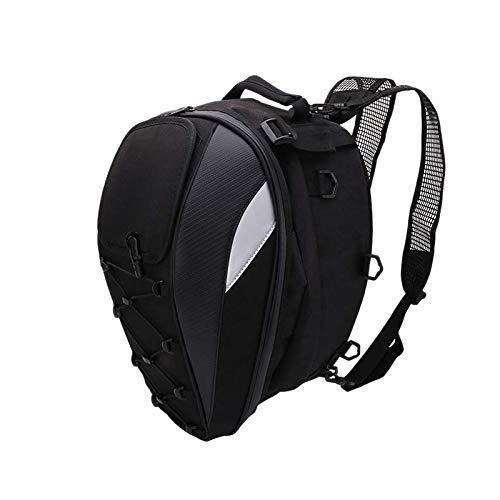 ACAMPTAR Motorrad Sattel Tasche Heck Tasche - Dual Use Motorrad Rucksack wasserdichte PU Gep?Ck Taschen Motorrad Helm Tasche Aufbewahrungs Taschen (Schwarz)