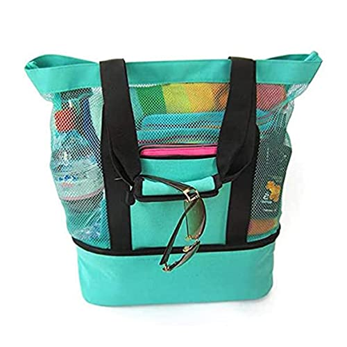 unknows Bolsa de picnic, bolsa de picnic, compartimento de malla para refrigerador, cremallera de gran tamaño cerrada, juguete de playa, comestibles, camping, bolsa
