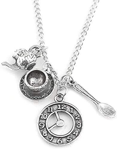 WSBDZYR Co.,ltd Collar de Moda Cuchara Tetera Reloj Despertador Combinación Colgante Collar Regalo de los Hombres