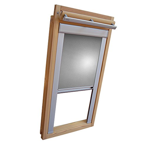 Easy-Shadow Dachfenster Verdunkelungsrollo Komfort Rollo Thermo für Typ Fakro FT/FTP/PK/FK/FE/FL/PTP Größe 03 - 66/98 (Glasmaß 50,0 x 81,3 cm) - in der Farbe silber / grau