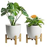 T4U 7 Inch Self Watering Planter with Bamboo Stand Set of 2, Plastic White Flower Pot for Indoor Herb Plant, Aloe, African Violet, Nursery Seedling Pot Round, Modern Decor for Home, Garden, Office