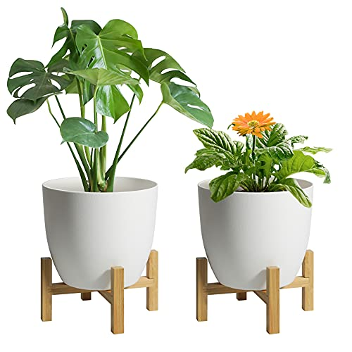 T4U 給水鉢 竹製スタンド付き 6号鉢 2個セット プラスチック 植木鉢 給水プランター 観葉植物鉢 花鉢 ハーブプランター ガーデニング 室内 ホワイト