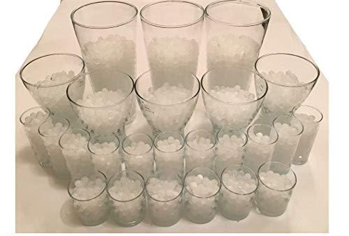 8200 Stück Wasserperlen Crystal Erde – Wasserkugeln Vasenfüller Dekoration Deko – 200Gramm –– für Pflanzen/Glase/Vase – Perlen Kugeln 11-15mm Durchmesser – Circa 25 Liter - Weiss