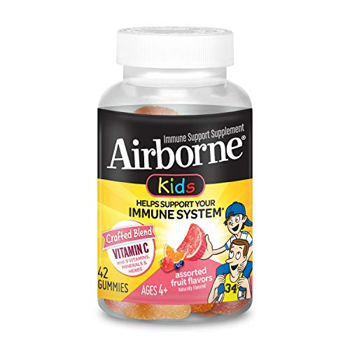 Vitamin C 500mg (per serving) - Airborne Kids Assorted Fruit Flavored Gummies (42 count in a bottle), Gluten-Free Immune Support Supplement With Vitamins A C E, Selenium, Echinacea & Ginger